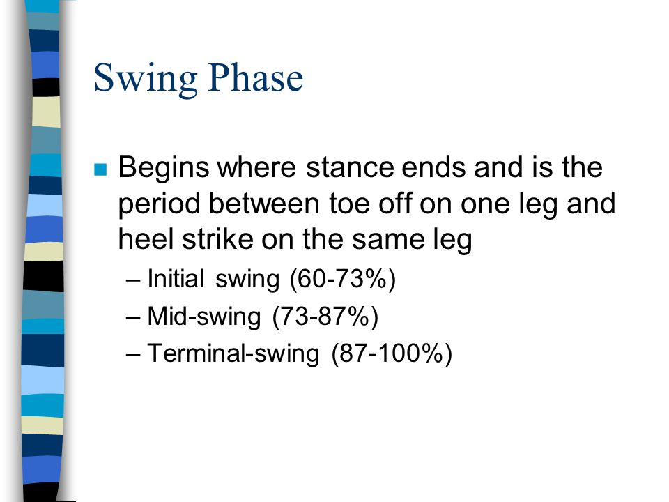 Swing Phase Begins where stance ends and is the period between toe off on one leg and heel strike on the same leg.