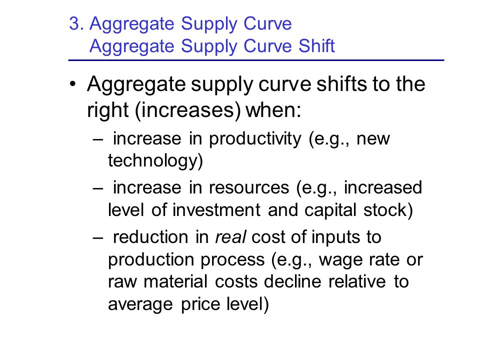3. Aggregate Supply Curve Aggregate Supply Curve Shift