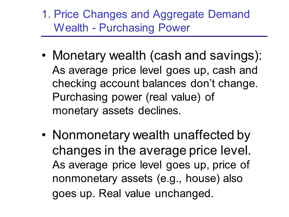 1. Price Changes and Aggregate Demand Wealth - Purchasing Power