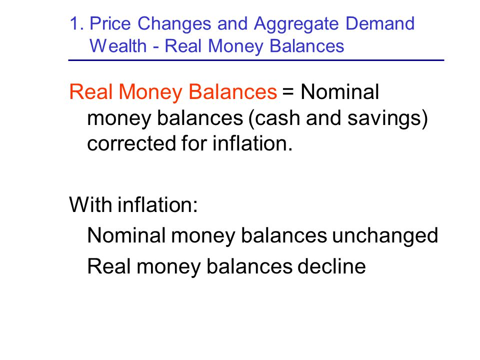 1. Price Changes and Aggregate Demand Wealth - Real Money Balances