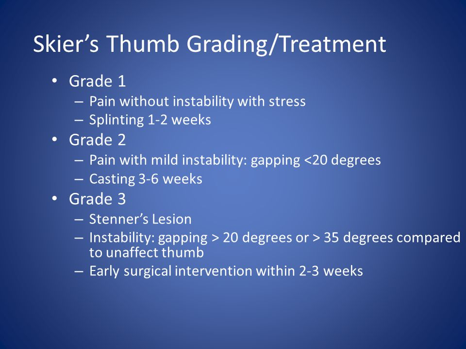 Skier's Thumb Grading/Treatment