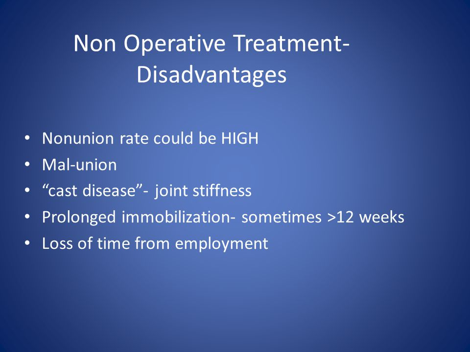 Non Operative Treatment- Disadvantages