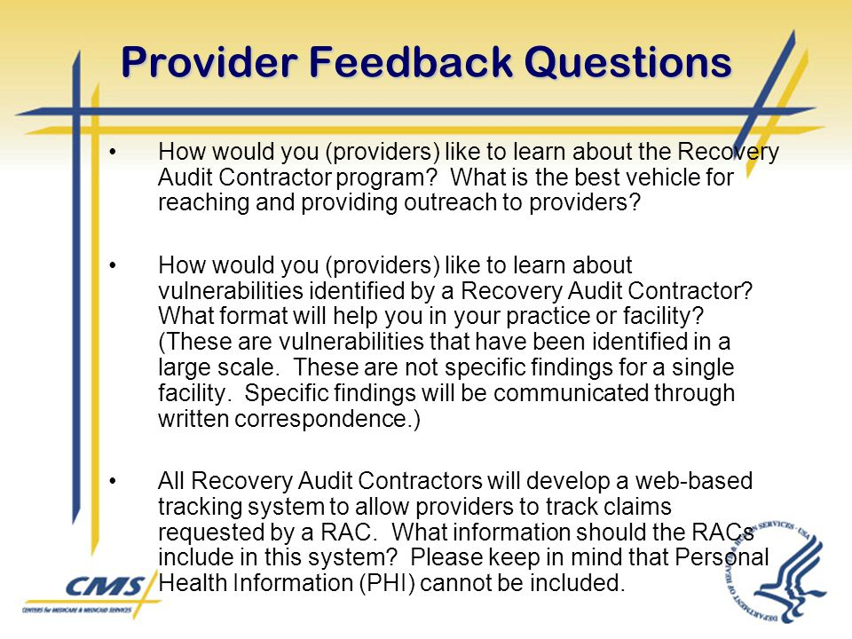 Provider Feedback Questions