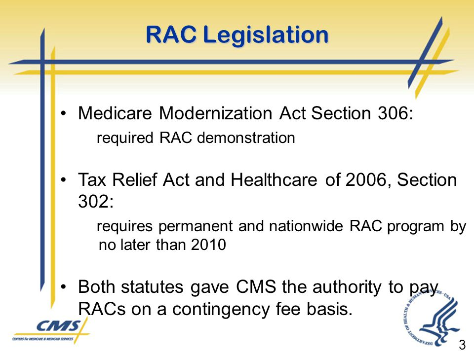 RAC Legislation Medicare Modernization Act Section 306: