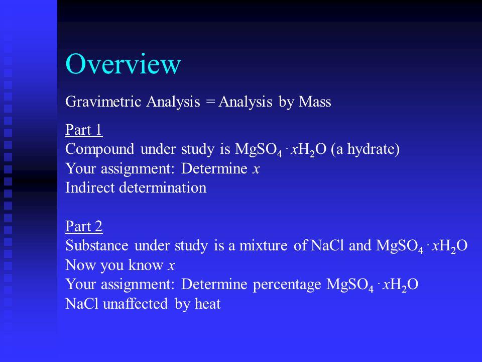 Overview Gravimetric Analysis = Analysis by Mass Part 1