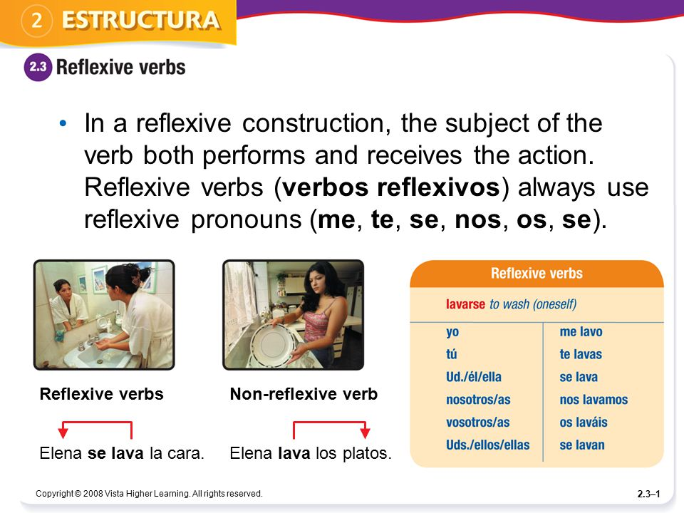 In a reflexive construction, the subject of the verb both performs and receives the action. Reflexive verbs (verbos reflexivos) always use reflexive pronouns (me, te, se, nos, os, se).