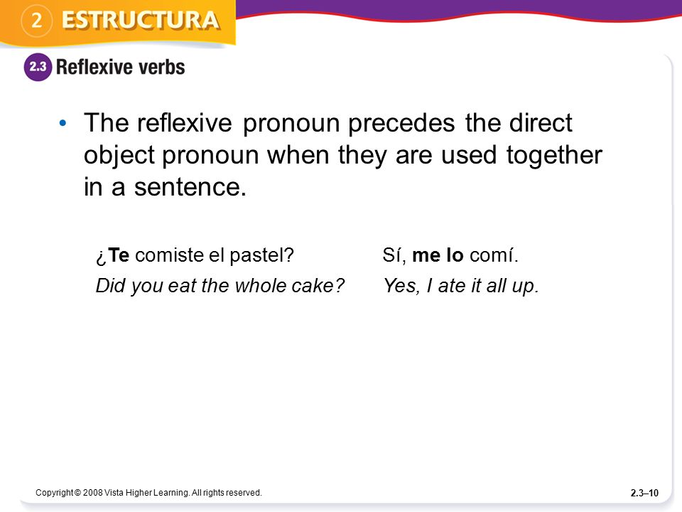 The reflexive pronoun precedes the direct object pronoun when they are used together in a sentence.