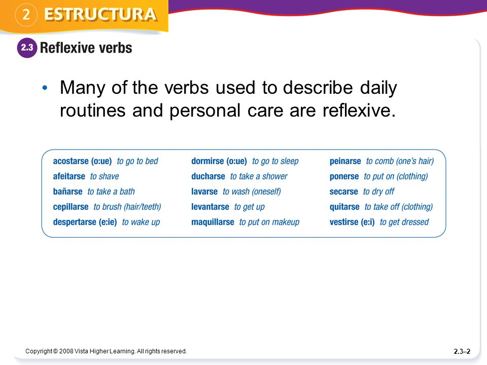 Many of the verbs used to describe daily routines and personal care are reflexive.