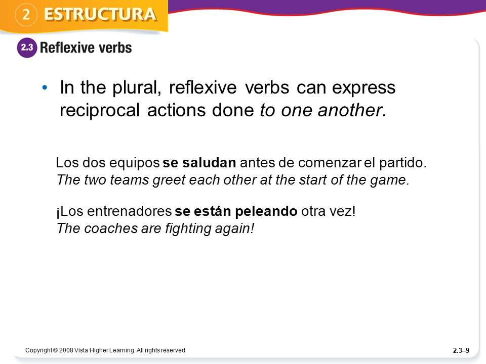 In the plural, reflexive verbs can express reciprocal actions done to one another.