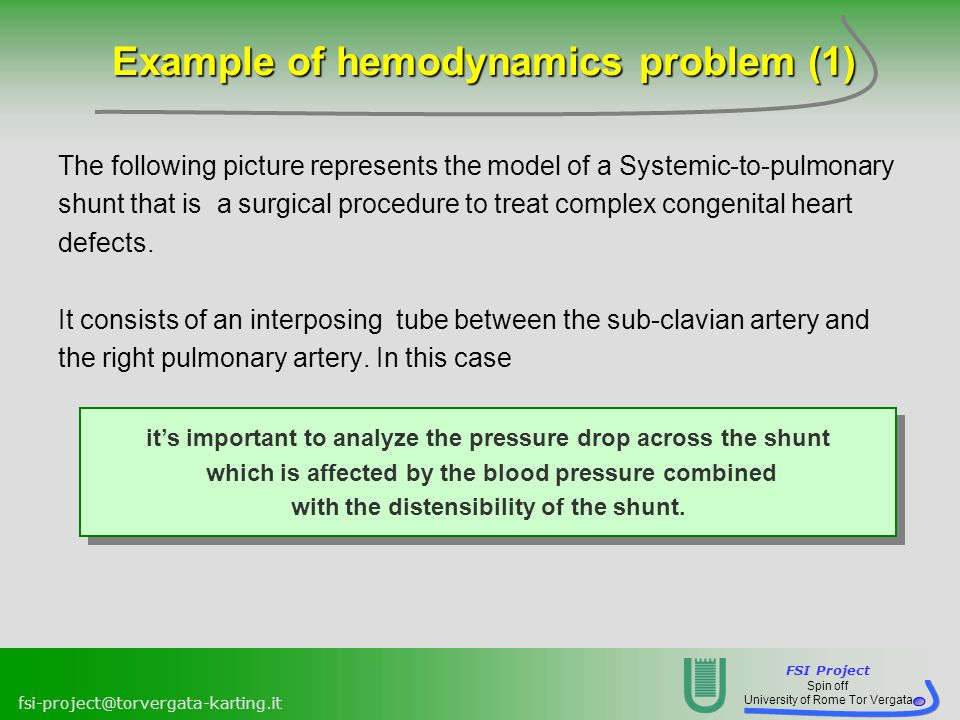 Example of hemodynamics problem (1)