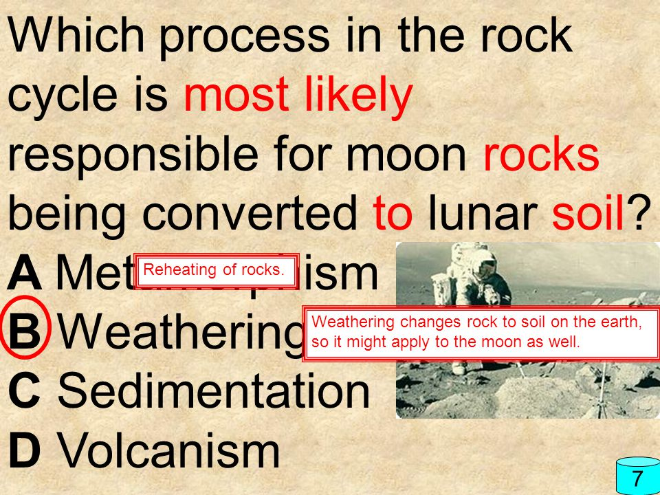 Which process in the rock cycle is most likely responsible for moon rocks being converted to lunar soil