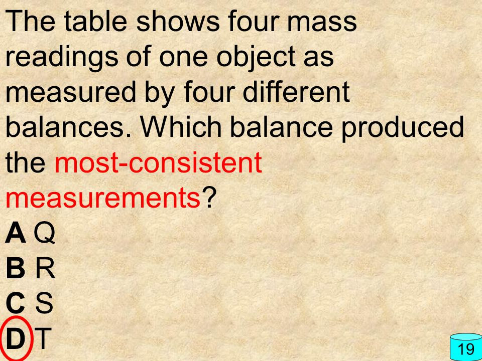 The table shows four mass readings of one object as measured by four different balances. Which balance produced the most-consistent measurements