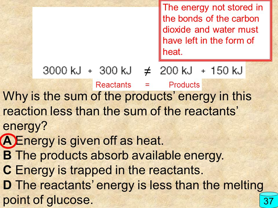 A Energy is given off as heat. B The products absorb available energy.