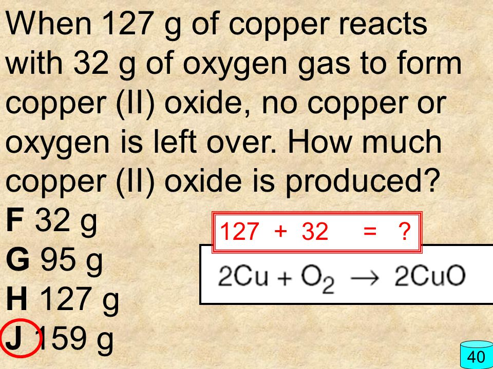 When 127 g of copper reacts with 32 g of oxygen gas to form copper (II) oxide, no copper or oxygen is left over. How much copper (II) oxide is produced