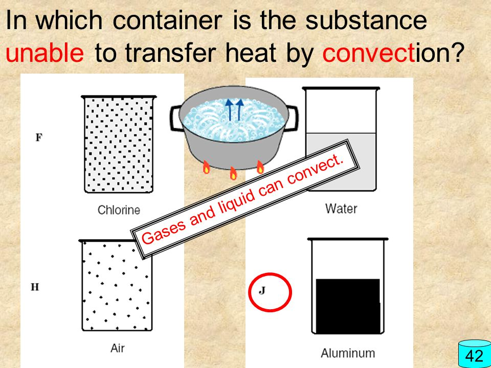 In which container is the substance unable to transfer heat by convection