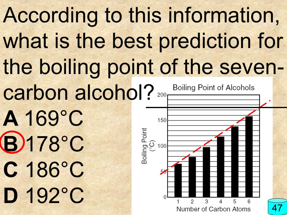 According to this information, what is the best prediction for the boiling point of the seven-carbon alcohol