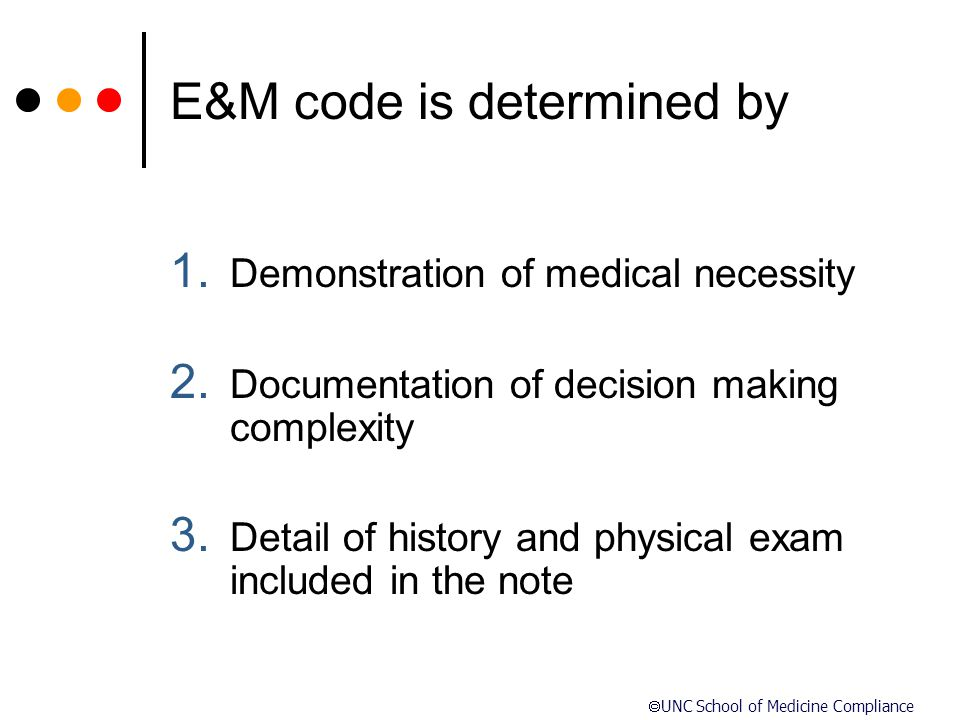 E&M code is determined by