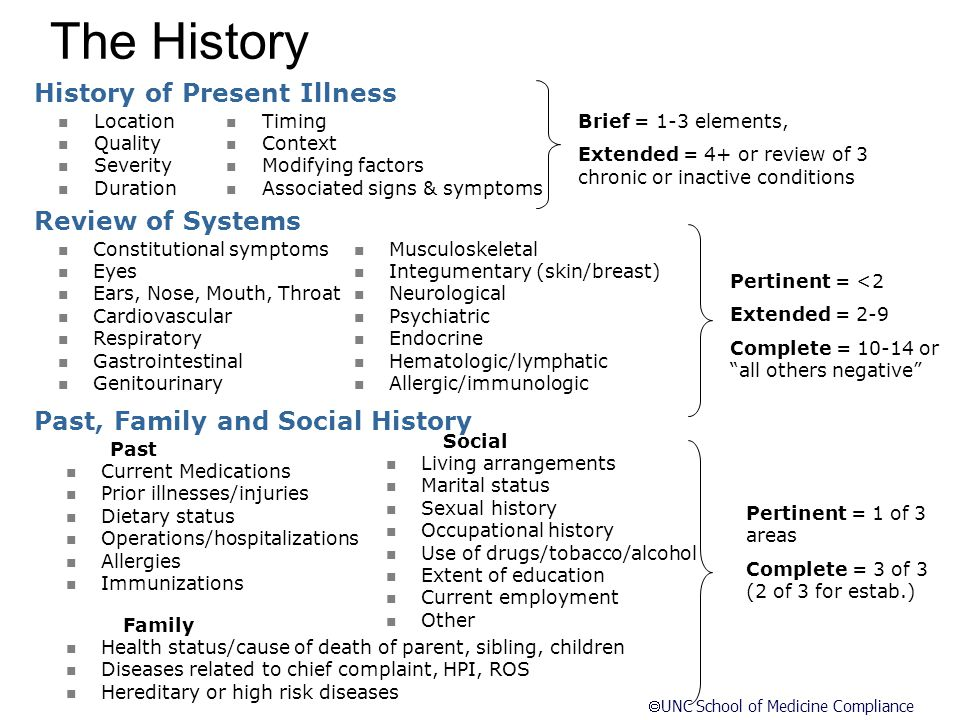 The History History of Present Illness Review of Systems