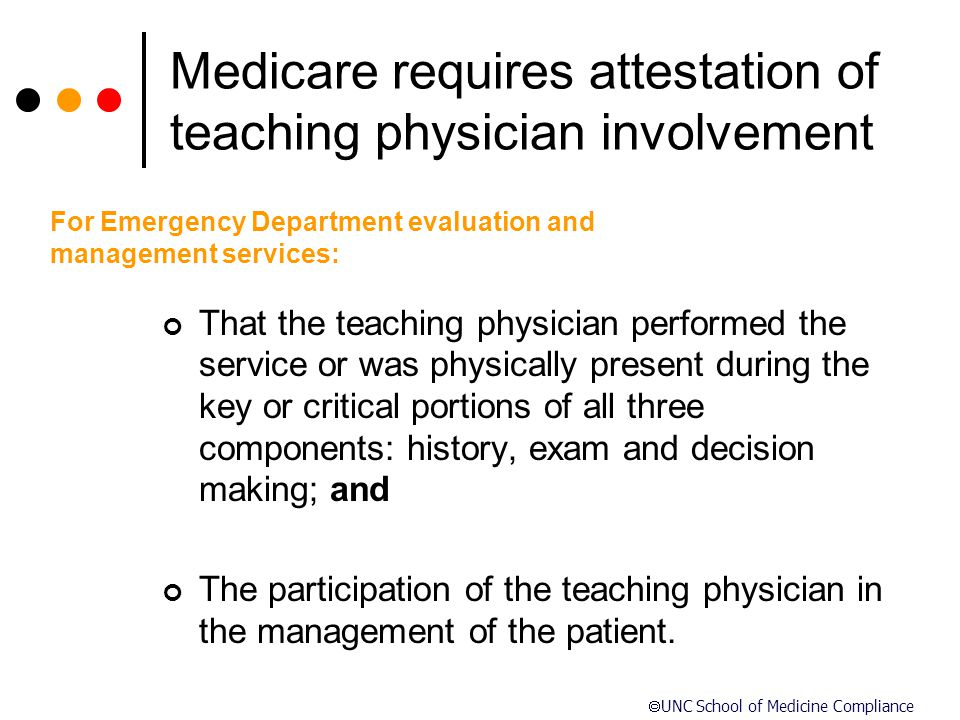 Medicare requires attestation of teaching physician involvement