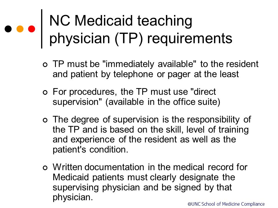 NC Medicaid teaching physician (TP) requirements