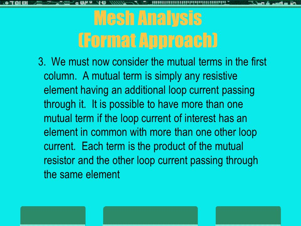 Mesh Analysis (Format Approach)