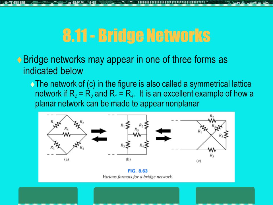 8.11 - Bridge Networks Bridge networks may appear in one of three forms as indicated below.