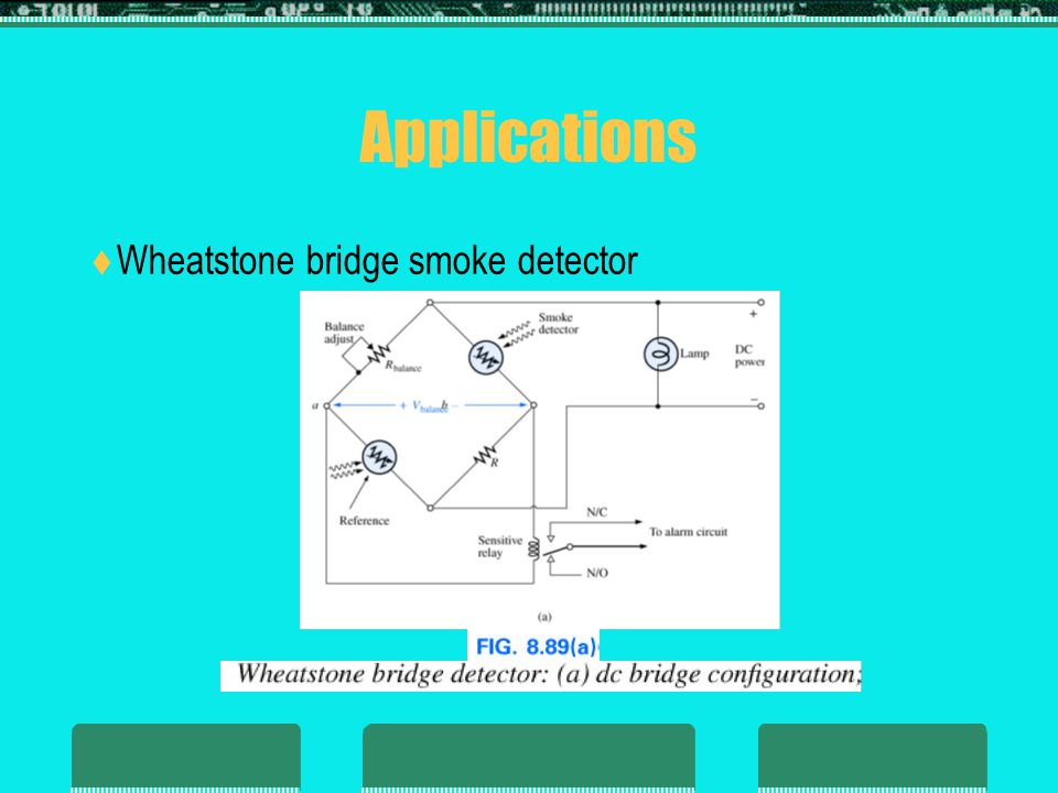 Applications Wheatstone bridge smoke detector 31