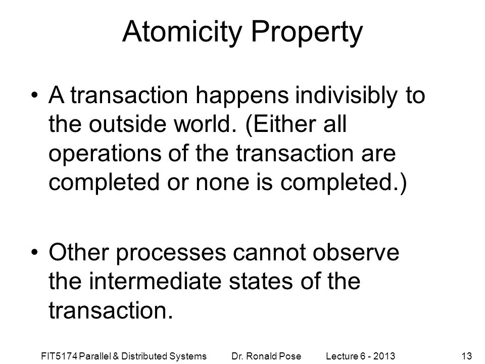 Atomicity Property September 4, 1997.