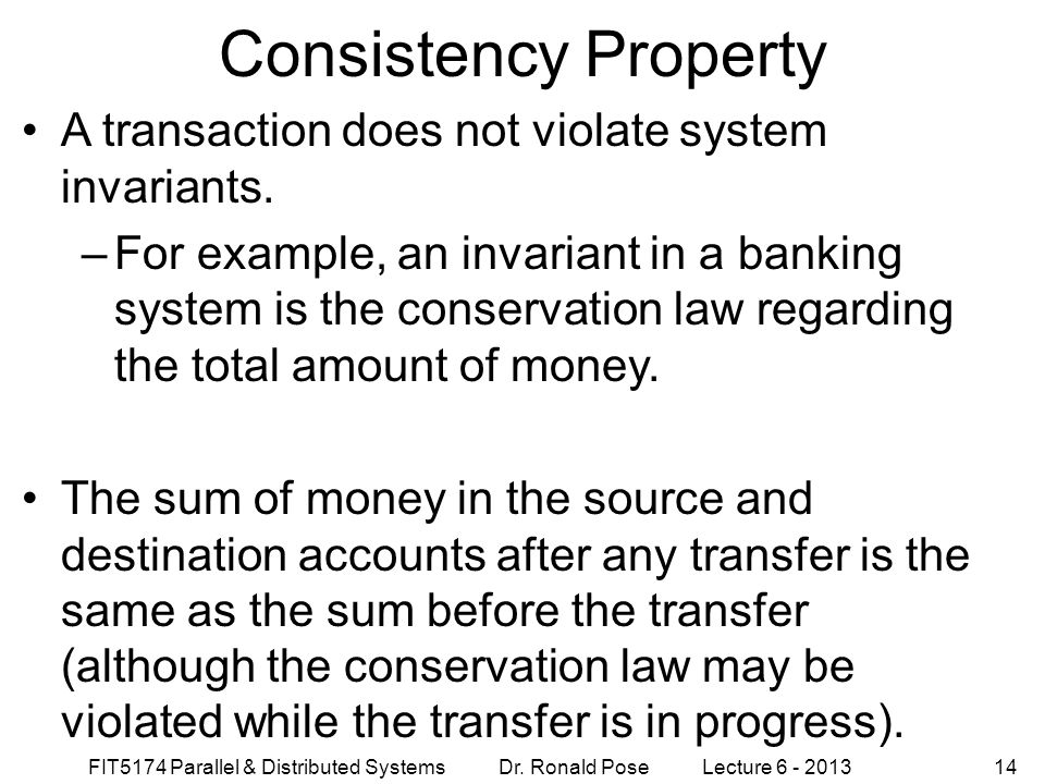 Consistency Property A transaction does not violate system invariants.