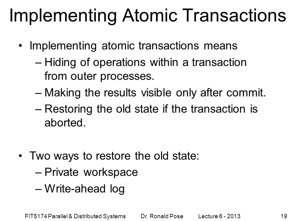 Implementing Atomic Transactions