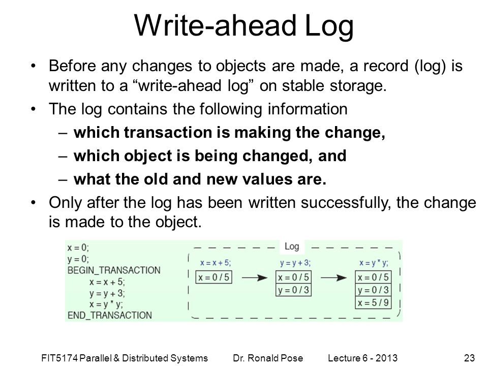 Write-ahead Log September 4, 1997. Before any changes to objects are made, a record (log) is written to a write-ahead log on stable storage.