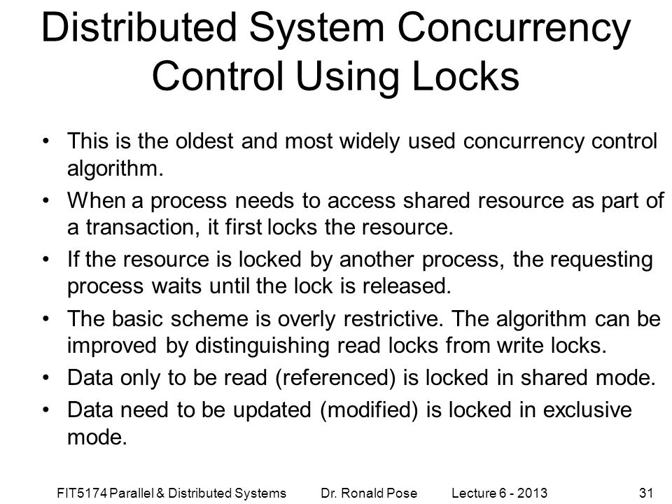 Distributed System Concurrency Control Using Locks