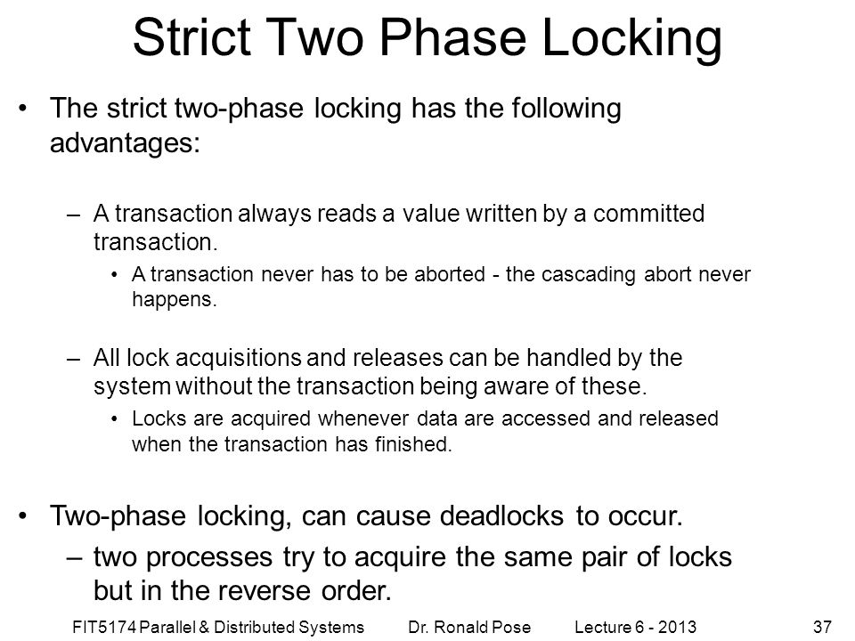 Strict Two Phase Locking