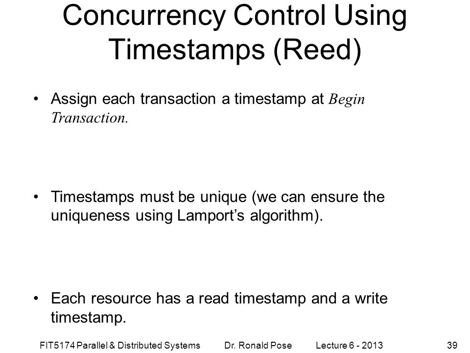 Concurrency Control Using Timestamps (Reed)