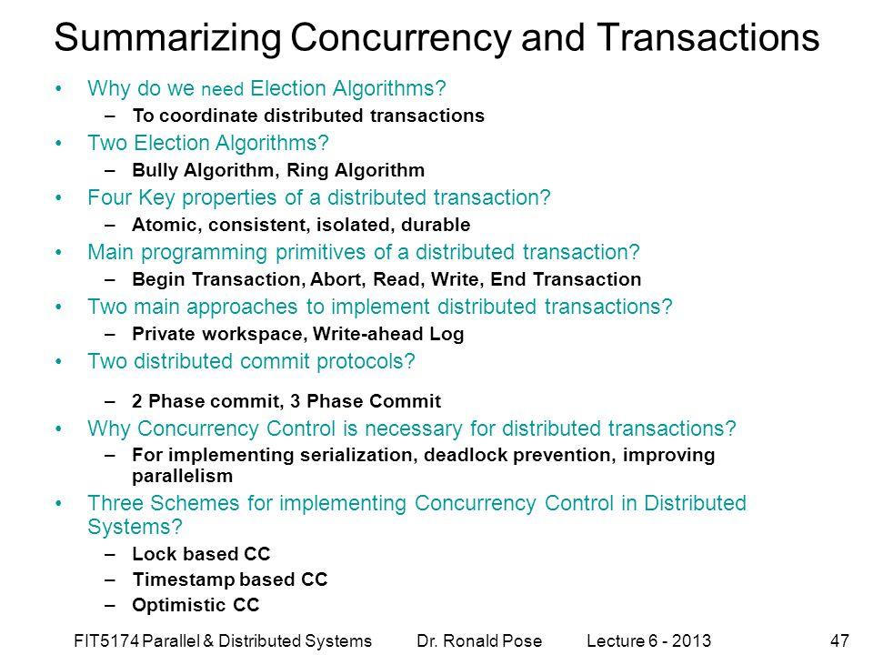 Summarizing Concurrency and Transactions