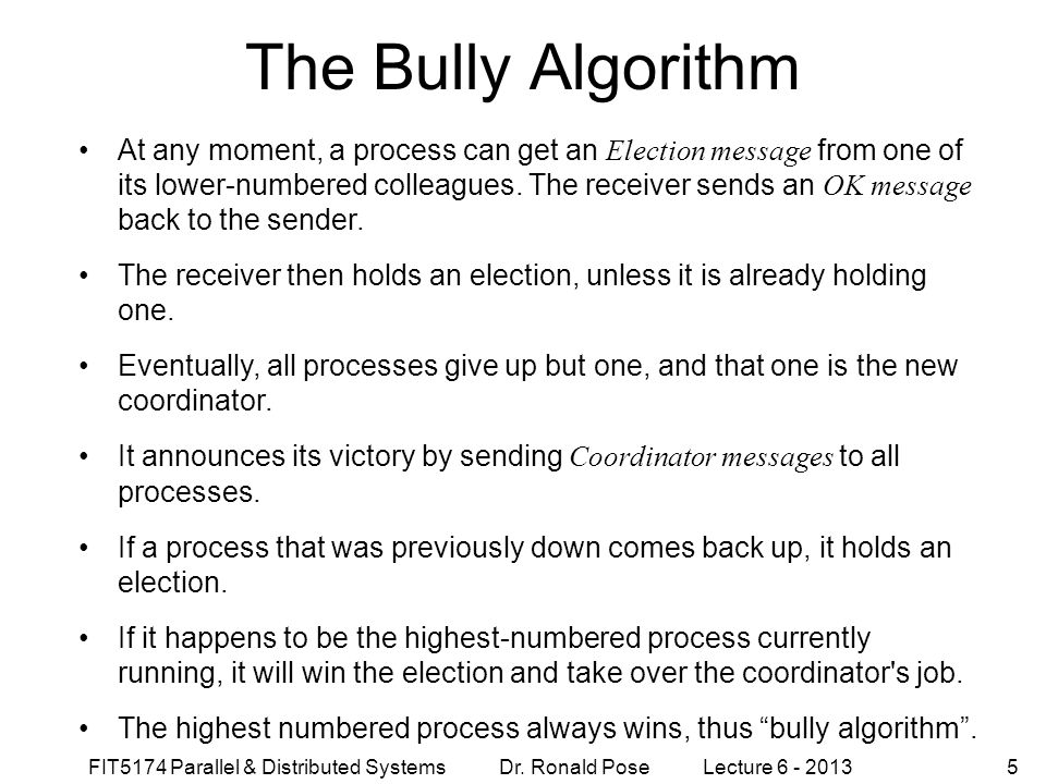 The Bully Algorithm September 4, 1997.