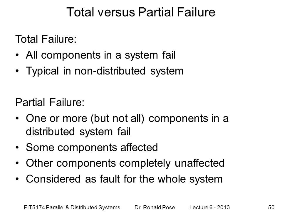 Total versus Partial Failure