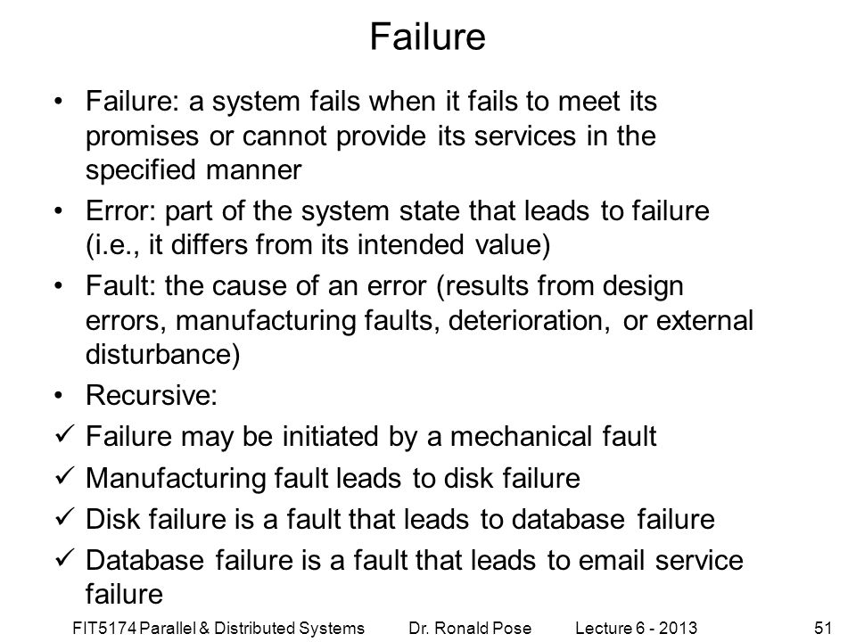 Failure September 4, 1997. Failure: a system fails when it fails to meet its promises or cannot provide its services in the specified manner.