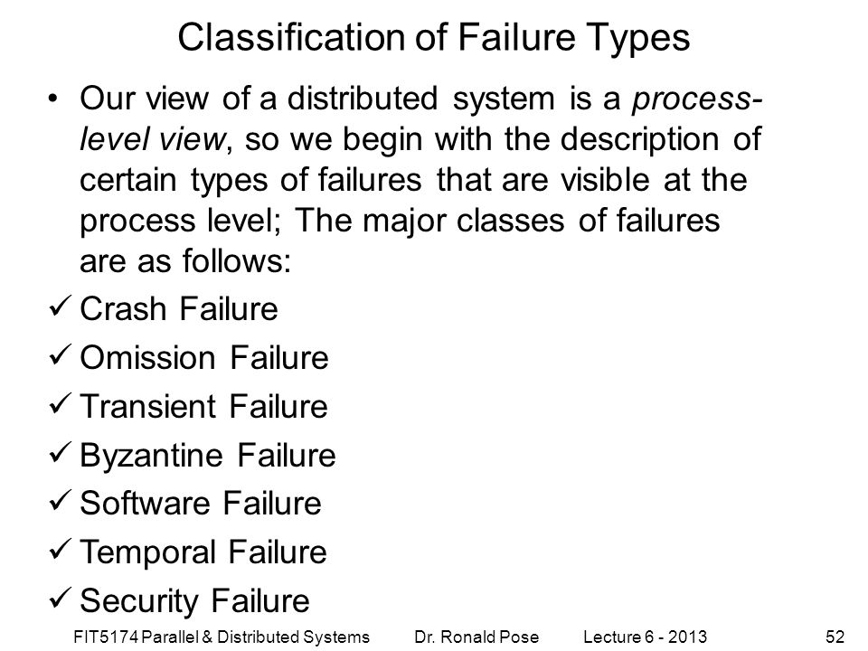 Classification of Failure Types