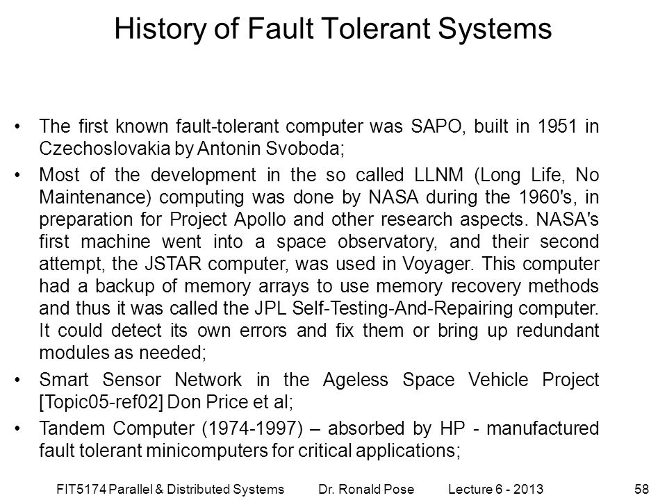 History of Fault Tolerant Systems