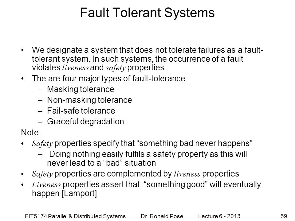 Fault Tolerant Systems