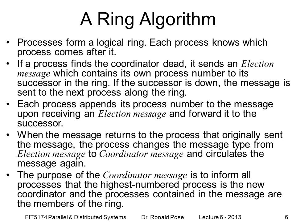 A Ring Algorithm September 4, 1997. Processes form a logical ring. Each process knows which process comes after it.