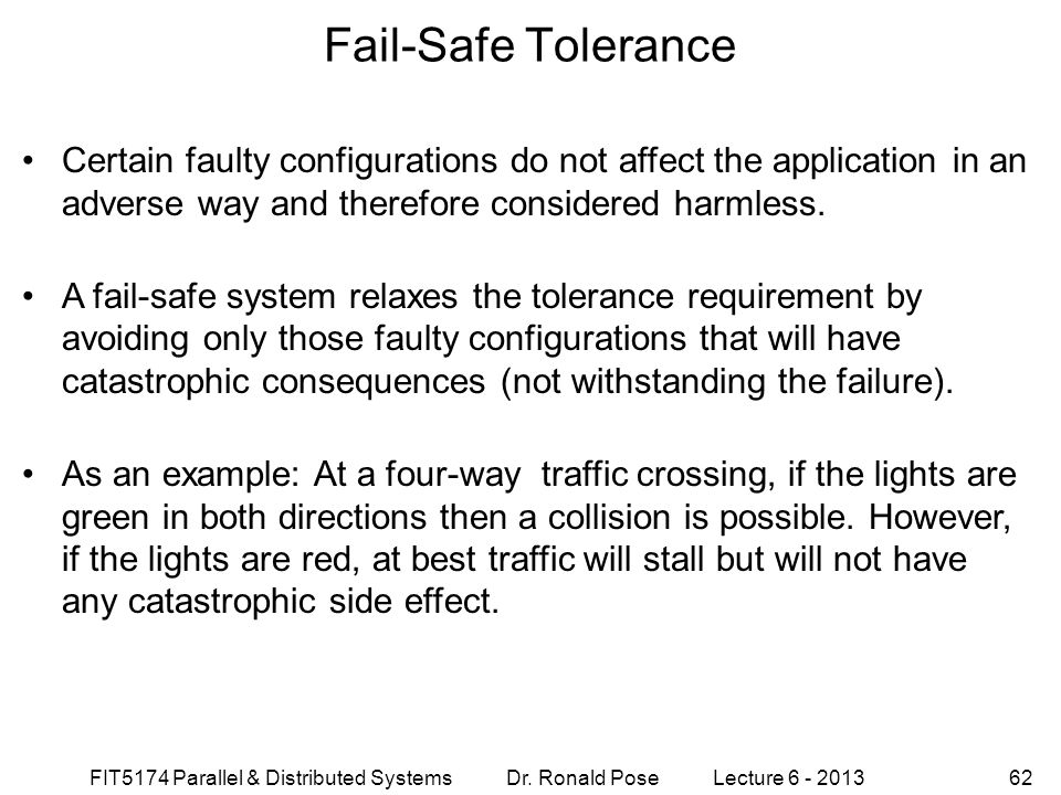 Fail-Safe Tolerance September 4, 1997.