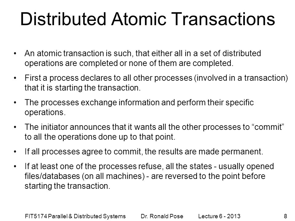 Distributed Atomic Transactions