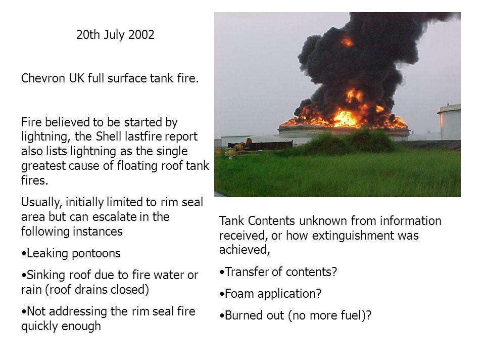 20th July 2002 Chevron UK full surface tank fire.