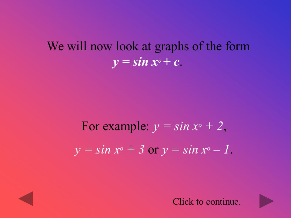 We will now look at graphs of the form y = sin xo + c.