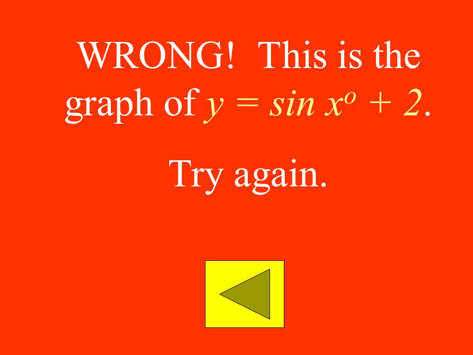 WRONG! This is the graph of y = sin xo + 2.