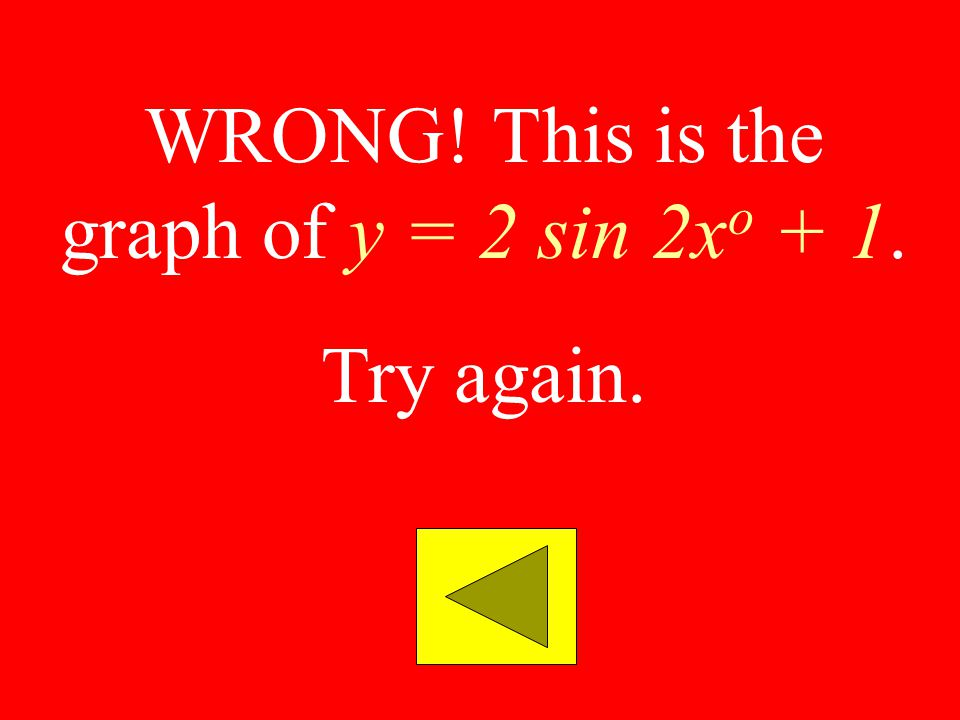 WRONG! This is the graph of y = 2 sin 2xo + 1.
