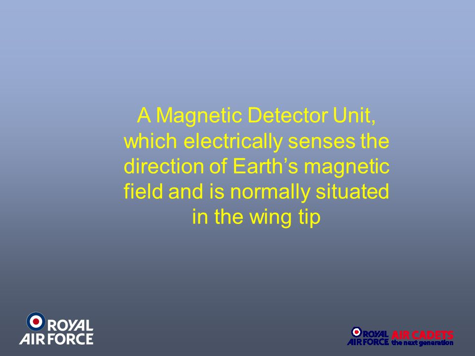 A Magnetic Detector Unit, which electrically senses the direction of Earth's magnetic field and is normally situated in the wing tip