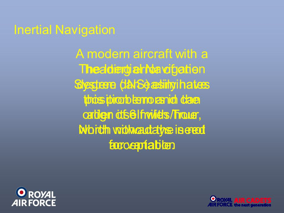 The Inertial Navigation System (INS) eliminates this problem and can